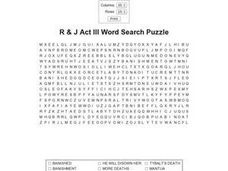 R & J Act III Word Search Puzzle Worksheet