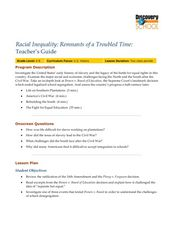 Racial Inequality: Remnants of a Troubled Time Lesson Plan