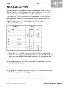 Racing Against Time - Enrichment Worksheet