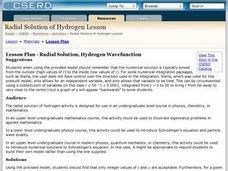 Radial Solution, Hydrogen Wavefunction Lesson Plan
