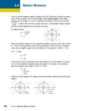 Radian Measure 11th - 12th Grade Worksheet | Lesson Planet