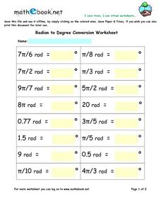 Radian to Degree Conversion Worksheet Worksheet