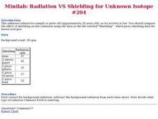 Radiation vs. Shielding Worksheet