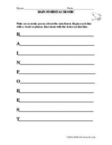 Rain Forest Acrostic Poem Worksheet
