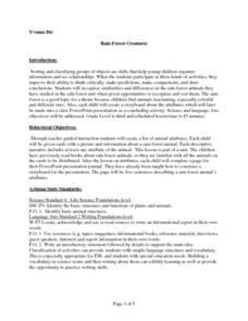 Rain Forest Creatures Lesson Plan