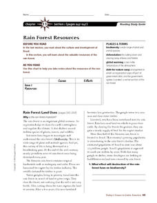 Rain Forest Resources Worksheet