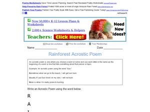 Rainforest Acrostic Poem Worksheet