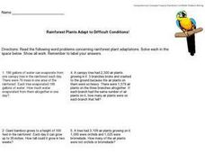 Rainforest Plants Adapt to Difficult Conditions! - Mixed Word Problems Worksheet
