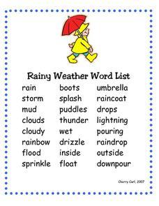 rainy weather word list 2nd 3rd grade worksheet lesson planet. Black Bedroom Furniture Sets. Home Design Ideas