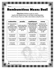 Rambunctious Means Bad! Worksheet