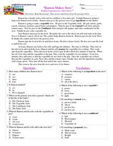 """Ramon Makes Stew"" Reading Comprehension- Short Stories Worksheet"