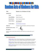Random Acts of Kindness For Kids Lesson Plan