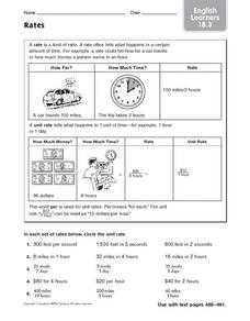 Rates - EL 18.3 Worksheet