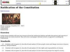 Ratification of the Constitution Lesson Plan