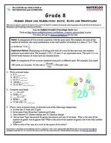 Ratio, Rates and Percentages Worksheet