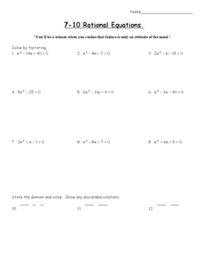 Rational Equations Lesson Plan