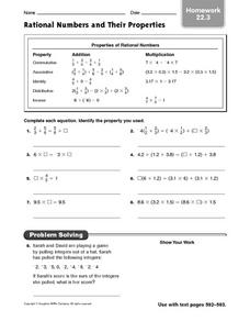 Rational Numbers and Their Properties - Homework 22.3 Worksheet