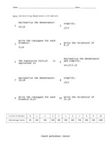 Rationalizing Denominators with Radicals Worksheet