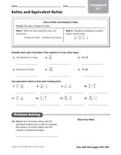 Ratios and Equivalent Ratios Worksheet