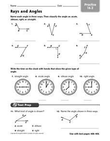 Rays and Angles - Practice 16.2 Worksheet