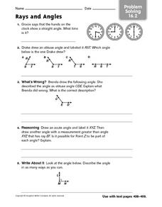 Rays and Angles - Problem Solving 16.2 Worksheet