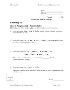 Reaction Rates Lesson Plan
