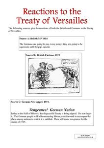 Reactions to the Treaty of Versailles Worksheet