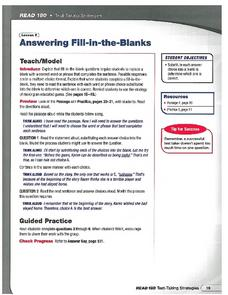 Read 180 Test Taking Skills - Answering Fill in the Blanks Worksheet