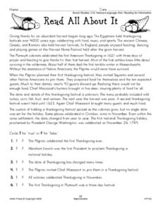 Read All About It: Thanksgiving Worksheet