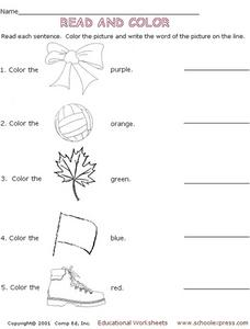 Read and Color 2 Worksheet