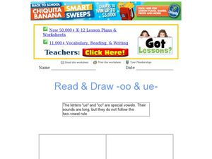 Read and Draw: oo and ue Worksheet
