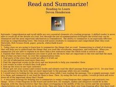 Read and Summarize Lesson Plan