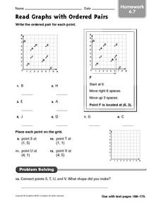 Read Graphs with Ordered Pairs - Homework 6.7 Worksheet