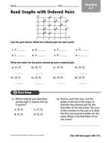 Read Graphs with Ordered Pairs practice 6.7 Worksheet