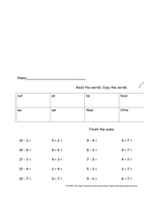 Read The Words, Copy The Words, Finish The Sums Worksheet