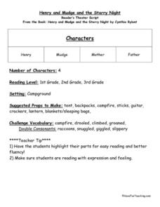 Reader's Theater Script Henry and Mudge and the Starry Night Lesson Plan