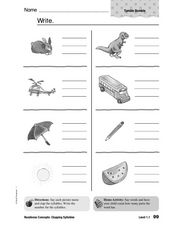 Readiness Concepts: Clapping Syllables Worksheet