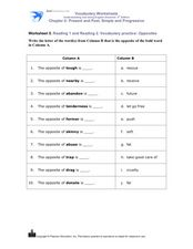 Reading 1 and Reading 2. Vocabulary practice: Opposites Worksheet