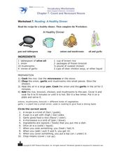 Reading: A Healthy Dinner Worksheet