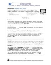 Reading: Ada's Advice Worksheet