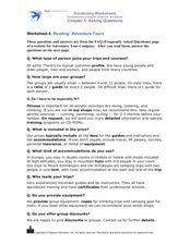 Reading: Adventure Tours Worksheet