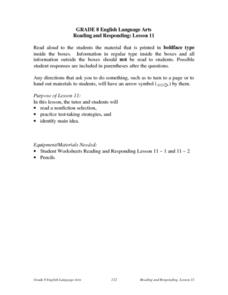 Reading and Responding -- Lesson 11 Lesson Plan