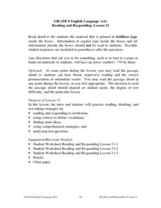 Reading and Responding -- Lesson 13 Lesson Plan