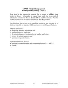 Reading And Responding: Lesson 2 Nonfiction Lesson Plan