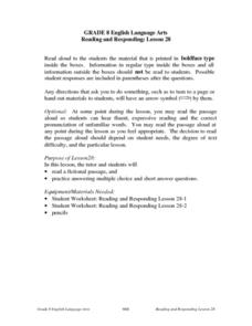 Reading and Responding: Lesson 28 Lesson Plan