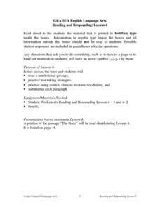 Reading And Responding: Lesson 4 Nonfiction/test-taking Strategies Lesson Plan