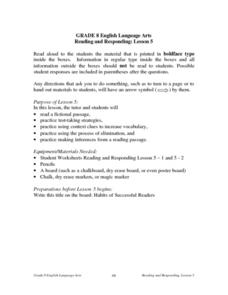 Reading and Responding: Lesson 5 Lesson Plan