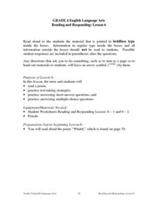 Reading And Responding: Lesson 6 Test-taking Strategies Lesson Plan
