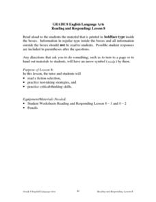 Reading and Responding -- Lesson 8 Lesson Plan
