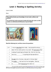 Reading and Spelling Activity Worksheet